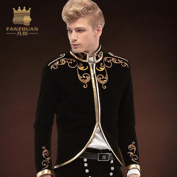 FANZHUAN Brands Gothic Clothing Men suit Made Mens Suit Prom Suits New Arrivals Party tuxedos Wedding Suits Jacket Stage Winds
