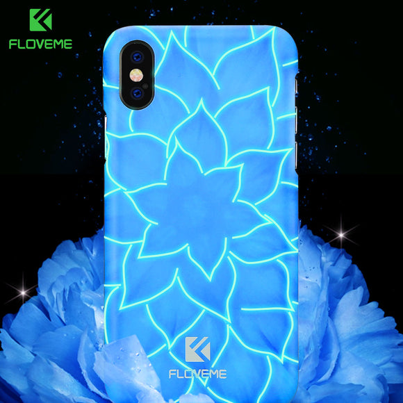 FLOVEME 3D Luminous Case For iPhone X 10 Luxury Lily Flower Luminous Light Hard PC Cover For iPhone 7 8 Plus Case Accessories
