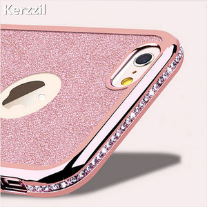 Kerzzil Diamond Case + Bling Shining Card Cover For iPhone 7 6 6S Plus 5s SE Rhinestone Soft Phone Back For iPhone X 6 7 8 6S 5S