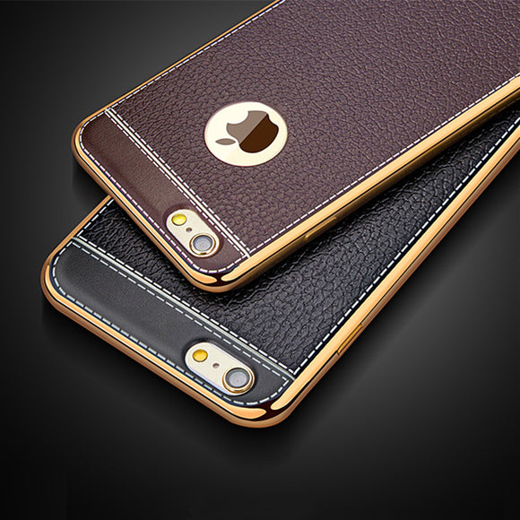 Litchi Pattern Soft Silicone Cases for APPle iPhone 8 Case Luxury Leather 5 5s 6s 7 Plus Vintage plating Cover for iPhone x Case