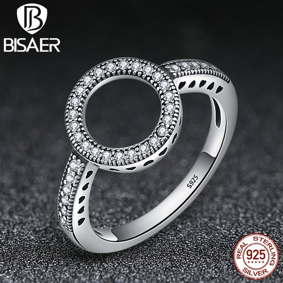 100% Genuine 925-Sterling-Silver Forever Clear CZ Circle Round Square Wedding Bands Ring For Women Engagement Jewelry HSR041