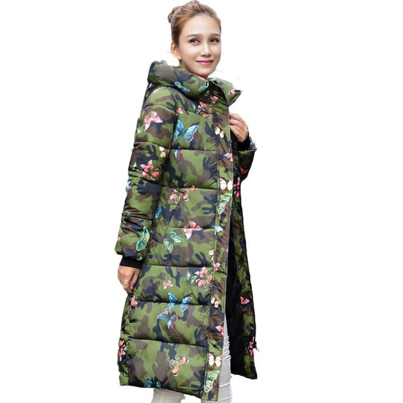 Fashion Winter Jacket Women 2017 Print Thick Warm Female Jacket Cotton Coat Parkas jaqueta feminina inverno Women Hooded Coat
