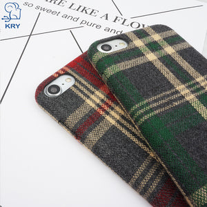 KRY Grid Cloth Phone Cases For iPhone 7 Case X 8 7 Plus Cases Stripes Fabric Cover For iPhone 6 Case 6s Plus Winter Capa Coque