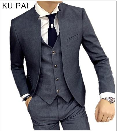 2017 new Korean wedding dress stand collar suit jacket men's self-cultivation business casual good quality suits male jacket