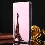 LOVECOM New Luxury Leather Case For Iphone 5 5S SE 6 6S 7 8 Plus X Phone Back Covers Hard PC Flip Stand Mirror Phone Cases