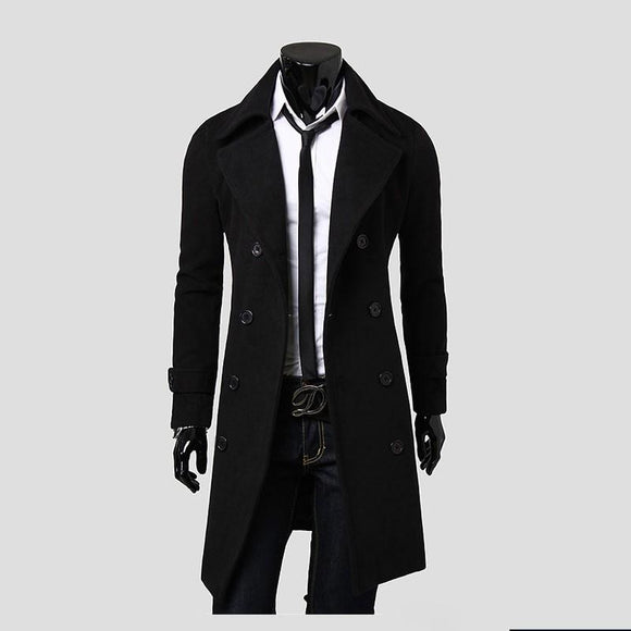 2017 New Arrival Autumn Trench Coat Men Jacket Brand Clothing Fashion Mens Long Coat Top Quality Cotton Male Overcoat M-3XL
