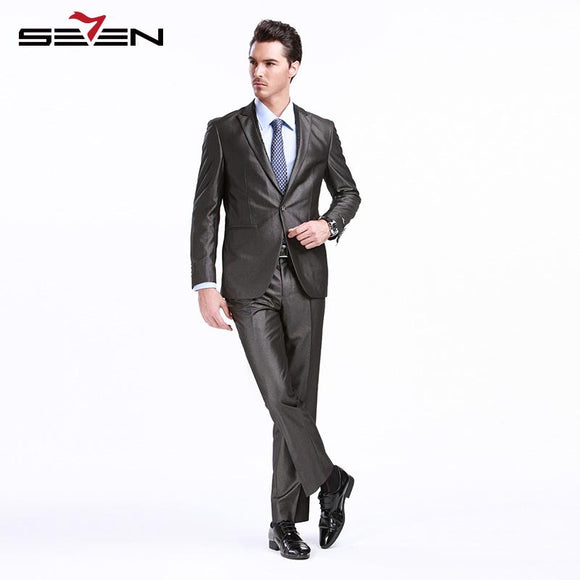 Seven7 Brand Suits Men 2017 Gray Latest Mens Suits For Wedding Groom Two Pieces Slim Fit Male Tuxedo Jacket Dress Pants 703C1293