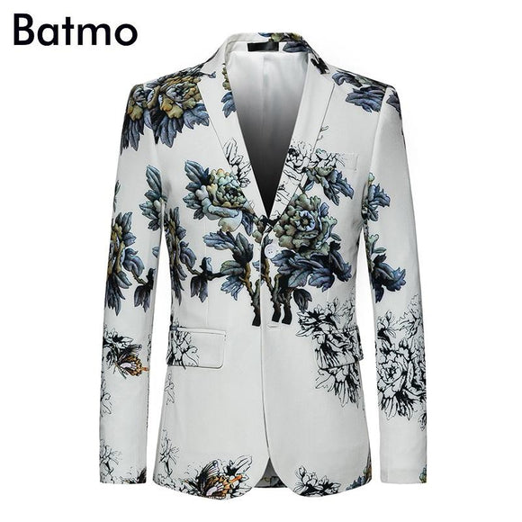 Batmo 2018 new arrival spring printed flowers men's suits,causal men's jakcet plus-size M to 6XL 817