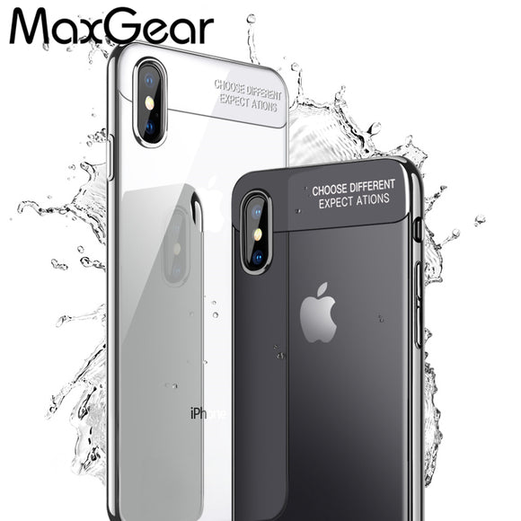 MaxGear For iPhone X Clear Case Luxury Plating Silicone Cover For iPhoneX 10 Gilded TPU Frame Transparent Back