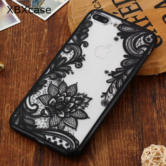 XBXCase Floral Sexy Lace Mandala Case For iPhone 6S 6 8 Plus X Fashion Luxury Flower Transparent Cover For iPhone 7 7+Plus