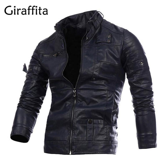 Giraffita Motorcycle Leather Jackets Men Autumn Winter Leather Clothing Men Leather Jackets Male Business Casual Coats