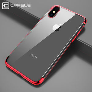 Cafele TPU Phone Case for iPhone X Case Plating Edge Soft TPU Transparent Case Cover for iPhone X  [Non Paint-shedding]