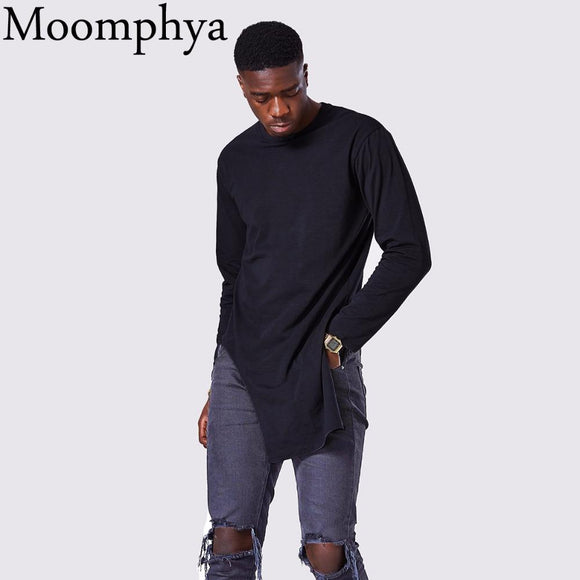Moomphya Men's Long Sleeve Soft Elasticity Long Hem Pullover T-Shirt Summer Side High Slit Long T shirt men hip hop street wear