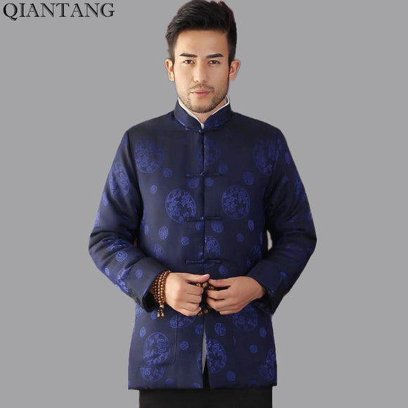 Top Selling Winter Cotton-Padded Jacket Navy Blue Chinese Style Men Long sleeve Coat Thick Outerwear Size S M L XL XXL Mim09B
