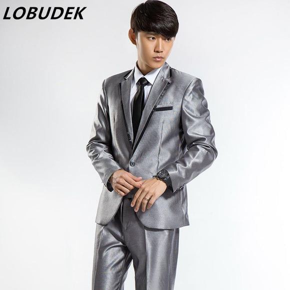 (jacket+pants) male wedding groom suit studio shooting suit white black silver fashion slim sets party formal host singer dress