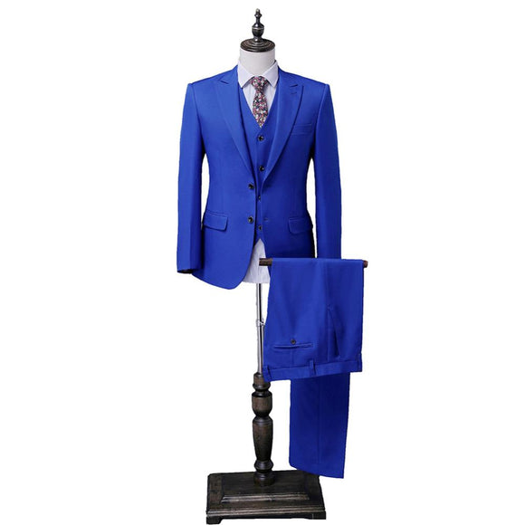 3 Pieces Botch Groom Tuxedos Jacket+Pant+Vest Wedding Suit For Men Mens 2018 Two Buttons Fashion Tuxedos After Six Groom Suits