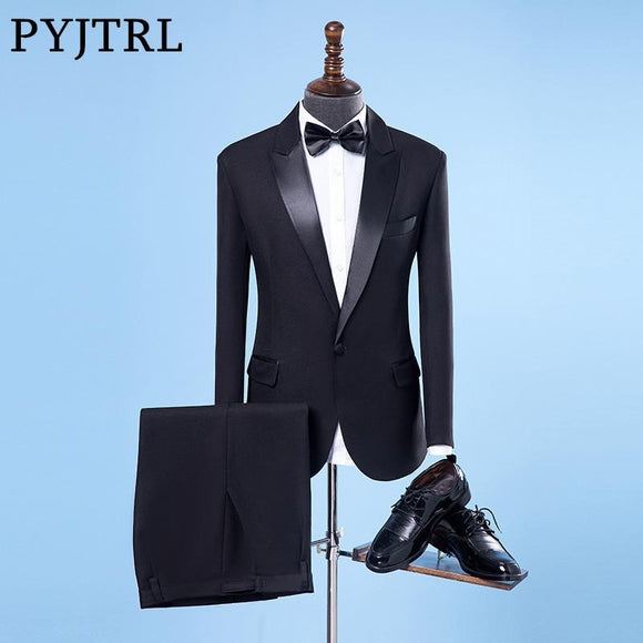 PYJTRL Men Classic Shiny Closure Collar Black Wedding Groom Groomsman Suits Stage Singer Tuxedo Terno Slim Fit Smoking Masculino