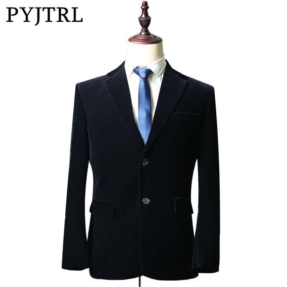 PYJTRL New Autumn Winter Corduroy Navy Blue Classic Leisure Men Business Suit Jacket Loose Coat Costume Homme Men Blazer Designs