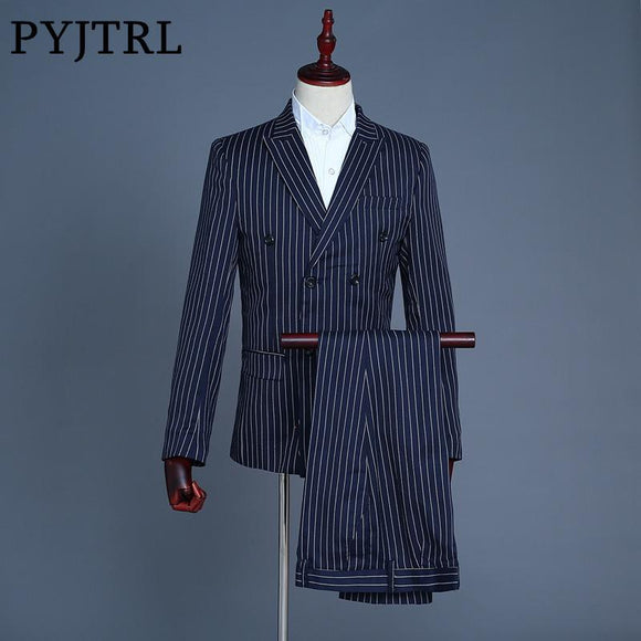 PYJTRL Brand Men's Three Piece Navy Blue Stripe Wedding Groom Leisure Tuxedo Slim Fit Mens Stage Wear Costume Homme Men Suit