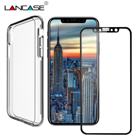 LANCASE Cover For iPhone X Case PC+TPU Front Back Full Cover Case For iPhone X 10 8 7 6 PLUS Screen Protector Phone Cases Glass