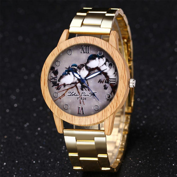ZhouLianFa Gold Watches 2017 New Stainless Steel Quartz Watch Ladies Chronograph Wood Watch Clock Gift