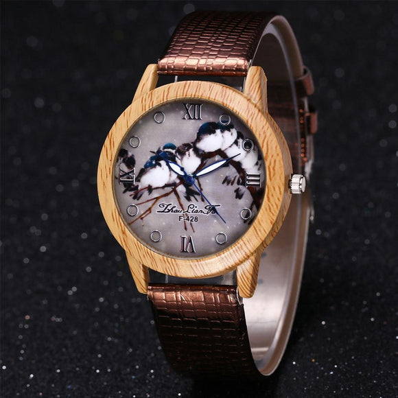 ZhouLianFa Bird Pattern Wood Watch Big Dial Clock Leisure Quartz Watch Ladies Relogio Feminino Gift