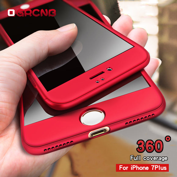 360 Protective Case For iPhone 6 6S 7 8 Plus Tempered Glass Front Back Cover Full Body Coverage For iPhone 7 Protection Shells