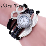 New Ladies Watch Wing Wrap Around Bracelet Watch Synthetic Leather Chain Watch Reloj Pulsera Mujer Watch Women Clock Gifts