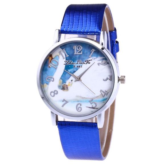 ZhouLianFa Animal Pattern Women Watches 2017 New Fashion PU Leather Analog Quartz Watches Nice Round Wrist Watch
