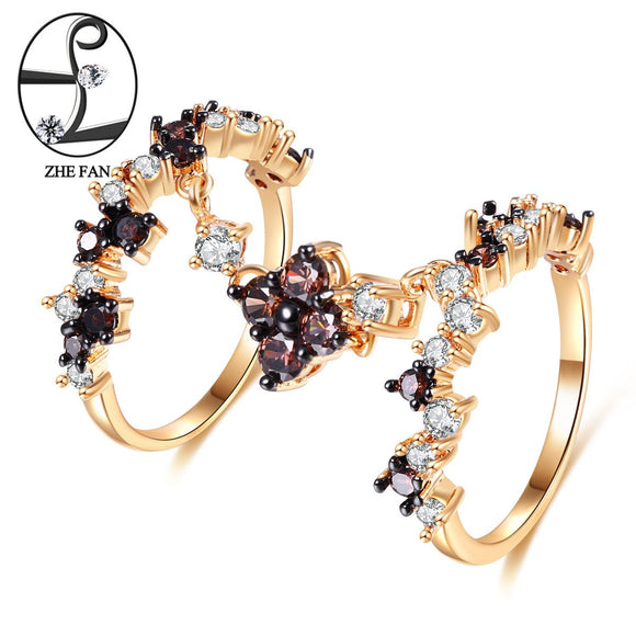 ZHE FAN Vintage Double Rings Black Champagne Gold Color Plating Rings For Women Jewelry Size 6 7 8 9