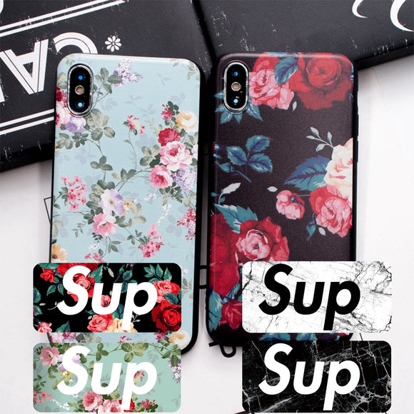Hot Japan Red Heart Sup Rose Marble soft Case For iPhone X 6 6s Plus Phone silicon Cover For iPhone 7 8 plus 5s SE Case Coque