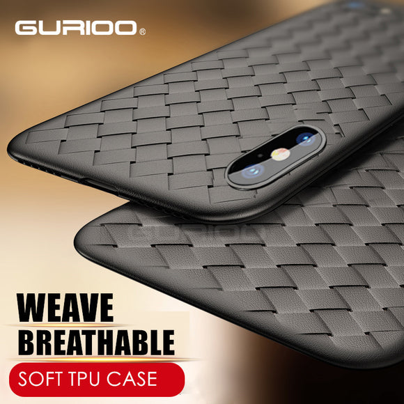 GURIOO Weave Case For iPhone X IX Luxury Ultra Thin Slim Back Cover Case For iPhone 10 Capinhas Soft TPU Coque Fundas