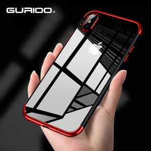 Gurioo Luxury TPU Rose Gold Plating Crystal Clear Case For iPhone X 10 6 6S Plus Clear Silicone Case for iPhone 7 8 Plus X Case