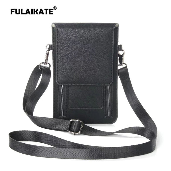 FULAIKATE Litchi Universal Shoulder Bag for iPhone6s 7 Plus Card Pocket Case for Samsung Galaxy S8Plus MEGA 6.3 Note5 Pouch