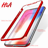 H&A Luxury 360 Degree Full Cover Cases For iPhone X 10 5 5s Protection Cover For iPhone 7 8 6 6S Plus X Case + Screen Protector