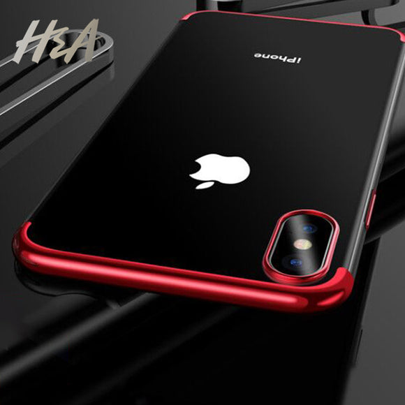 H&A Luxury Silicone Electroplating Silm Protection Phone Case For iPhone X Cover Soft Cover For iPhone 6 6S 7 8 PLUS X 10 Cases