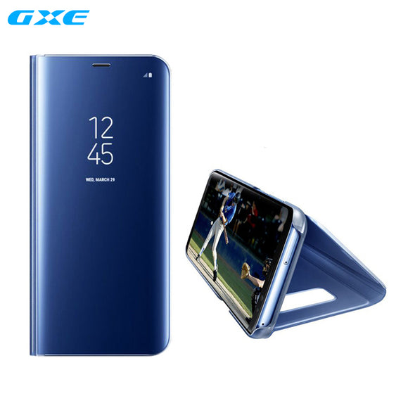 GXE for Samsung Galaxy S8 Plus Clear View Flip Case Electroplating Mirror Mobile Phone Stand Leather Cover For Galaxy S8+