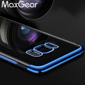 MaxGear For Samsung Galaxy S8 S8 Plus Clear Phone Case Ultrathin Plating Transparent Soft TPU Silicon Back Cover For Samsung S8