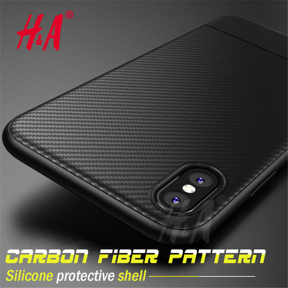 H&A Luxury Carbon Fiber Full Cover Cases For iPhone X 10 Case Soft SIlicone Case For iPhone 10 X Phone Case Phone Bag