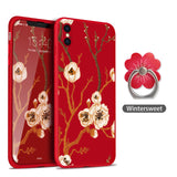 ASINA 360 Degree Full Protection Case For iPhone X Ultra Thin Flower Pattern Case For iPhone X Silicone Blossom Coque