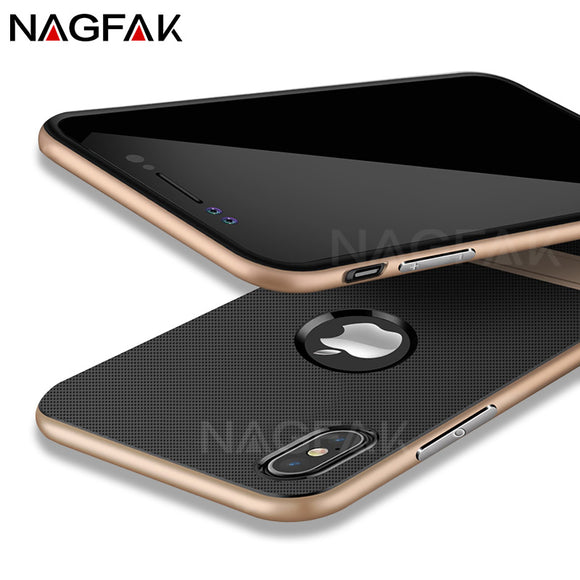NAGFAK Bracket Function Case For iPhone X 10 Case Luxury Back TPU+PC Protective Shell For iPhone 10 X Cases Fashion Cover Capa