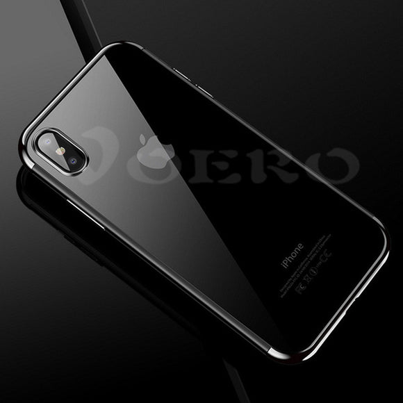 VOERO Luxury Silicon Soft Case for iPhone X 10 TPU & Electroplating edge Full Cover Cases For iphone 6 7 8 P Case Phone Shell