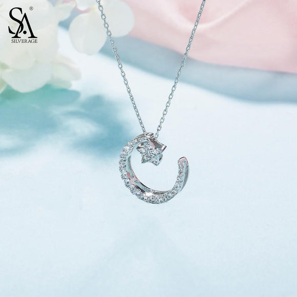 New Year Gift 925 Sterling Silver Moon Star Pendant Necklace AAA Zirconia Necklaces Fine Jewelry For Women 2.84g/15mm*20mm