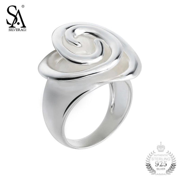 SA SILVERAGE Ring Silver 925 Flower Rings For Women Girl Pure Silver S925 Fine Jewelry 2018 Wedding Christmas Gift