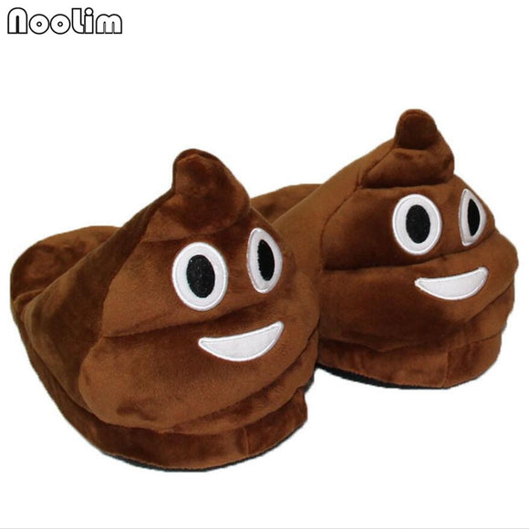 Winter Funny Plush Slippers Indoor Animal Emoji Women and Men Furry Home Cute Poop Warm Soft Bottom Floor Furry Slippers
