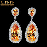 CWWZircons 7 Colors Classic Water Drop Design Silver Color Champagne Gold Crystal Women Dangle Earring With CZ Stones CZ078