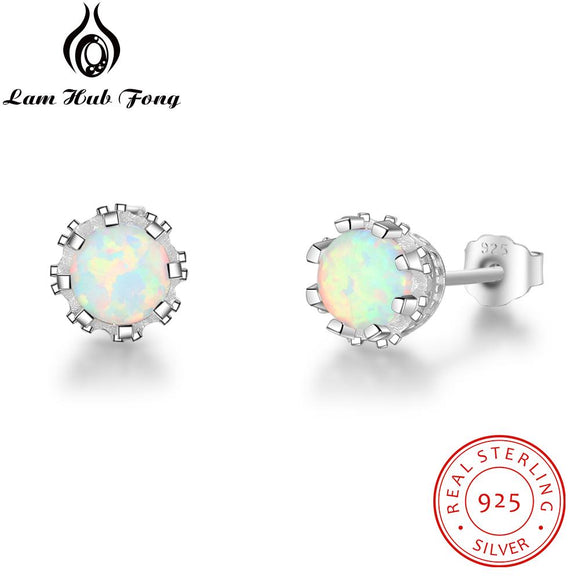 Round Created White Fire Opal 7mm 925 Sterling Silver Earrings Women Stud Earrings Wholesale Fine Jewelry (Lam Hub FongEA102088)