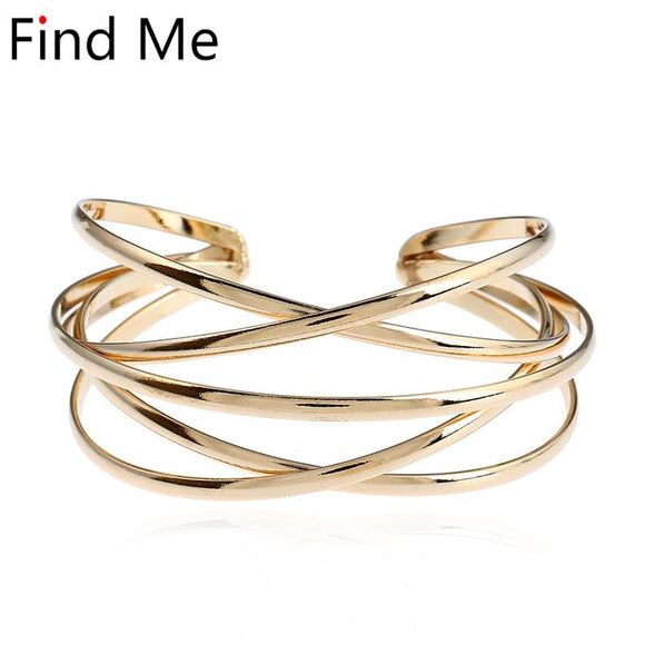 Find Me 2018 new brand Vintage Punk Bracelets & Bangles Women Jewelry multilayer Geometry Hollow out Cuff Bracelet wholesale