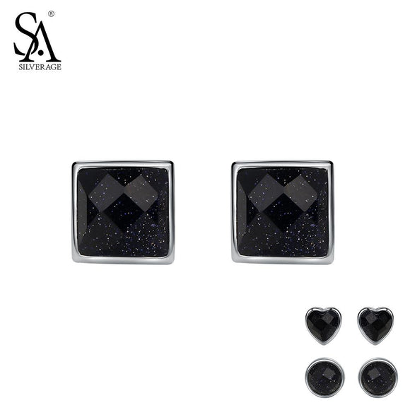 SA SILVERAGE 925 Silver Stud Earrings for Women Fine Jewelry Black Vintage 925 Sterling Silver Earring Square Round Heart