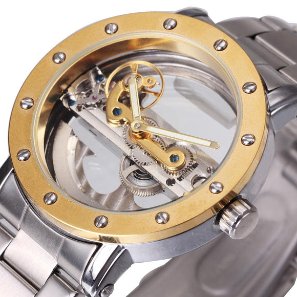 Men Fashion Vintage Mechanical Wrist Watches Stainless Steel Watchband Male Automatic Transparent Golden Bridge Top Brand Luxury